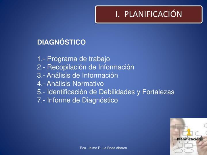 I.  PLANIFICACIÓN