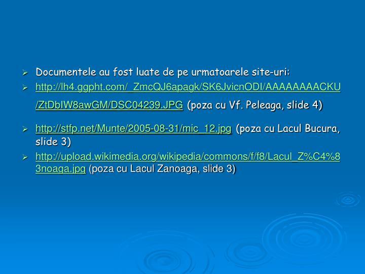 Documentele au fost luate de pe urmatoarele site-uri: