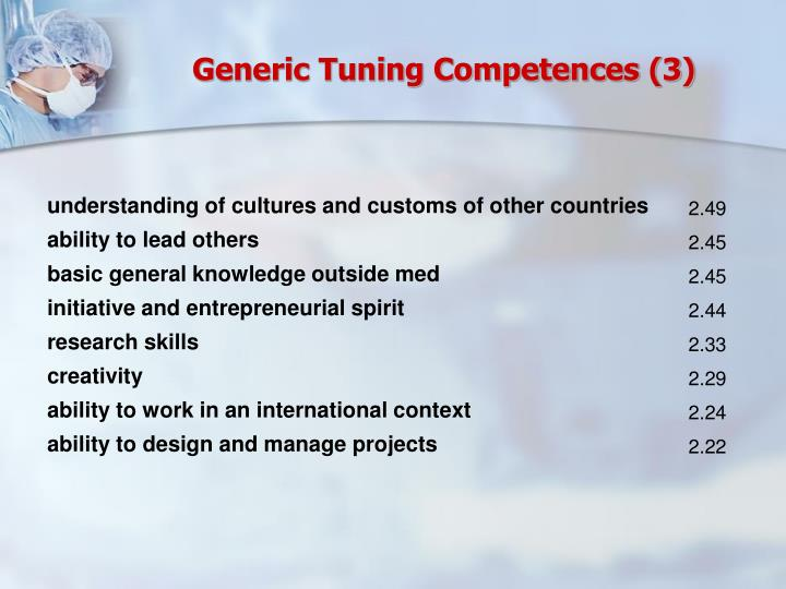 Generic Tuning Competences (3)