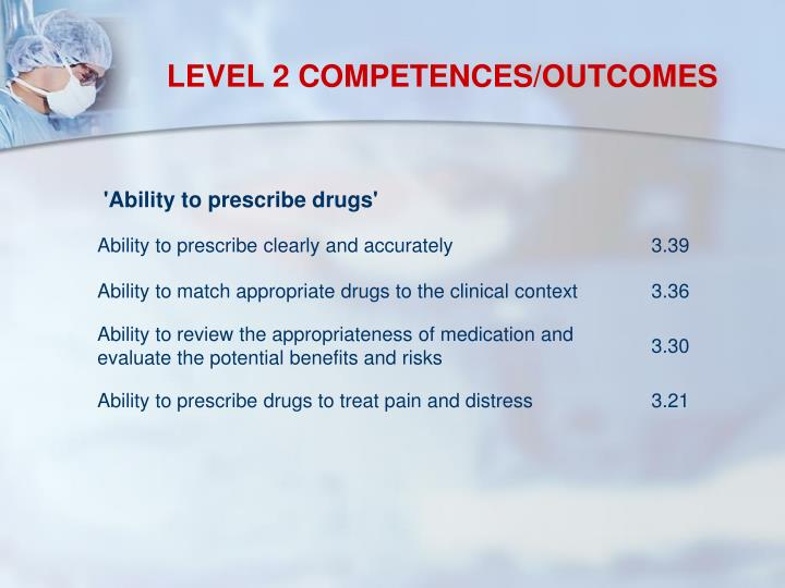 LEVEL 2 COMPETENCES/OUTCOMES
