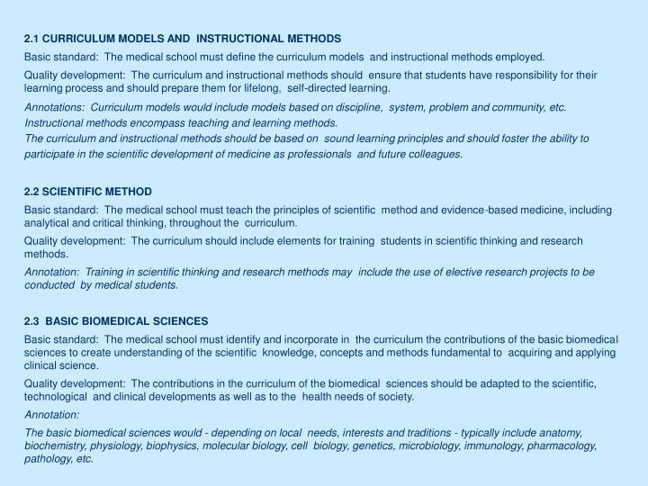 2.1 CURRICULUM MODELS AND  INSTRUCTIONAL METHODS