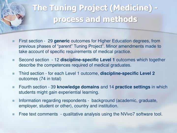 The Tuning Project (Medicine) - process and methods