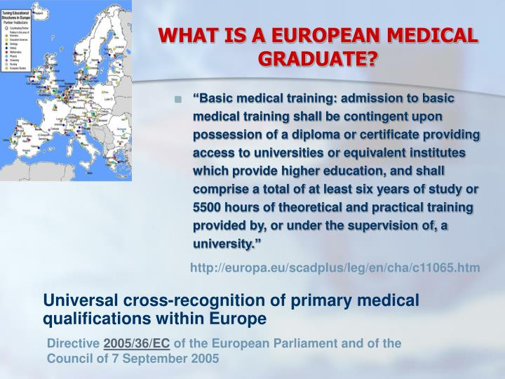 WHAT IS A EUROPEAN MEDICAL GRADUATE?
