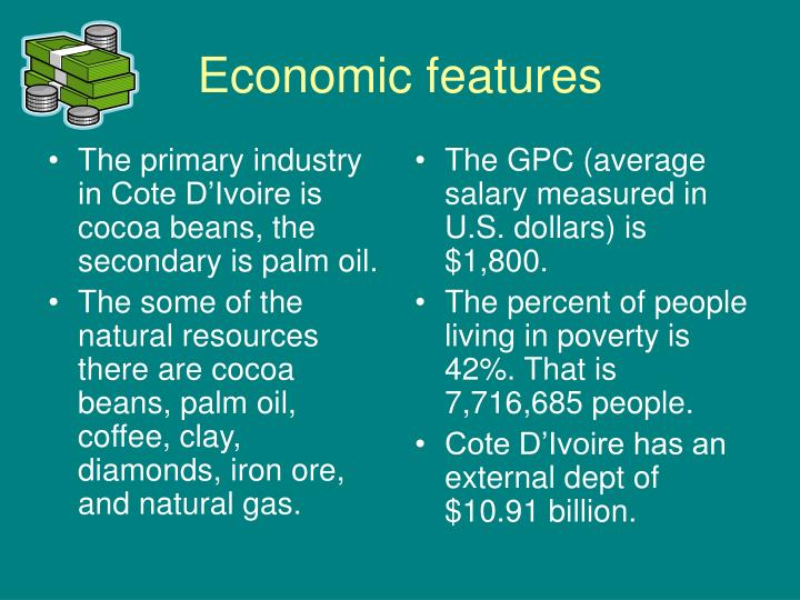 The primary industry in Cote D'Ivoire is cocoa beans, the secondary is palm oil.