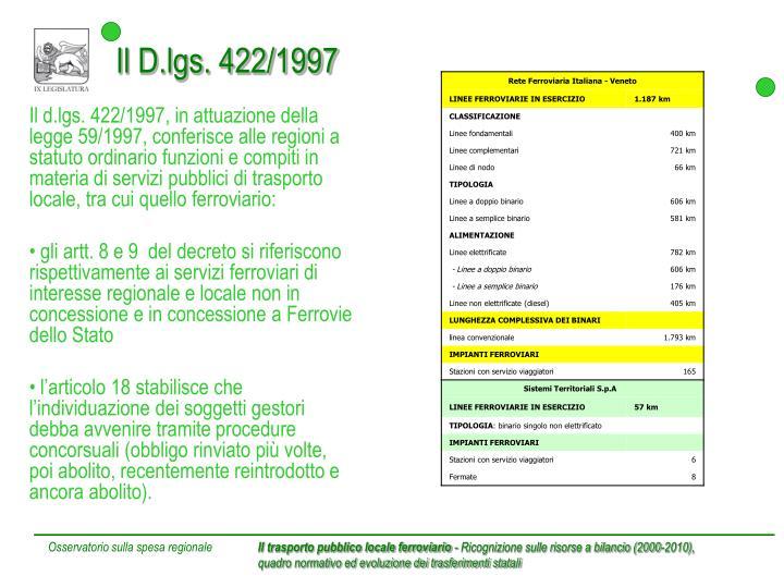 Il D.lgs. 422/1997