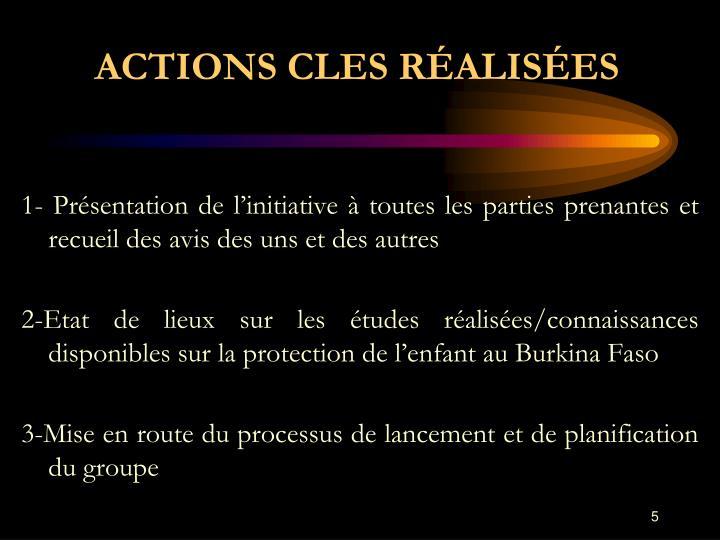 ACTIONS CLES RÉALISÉES