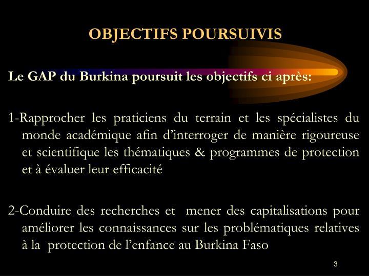 OBJECTIFS POURSUIVIS