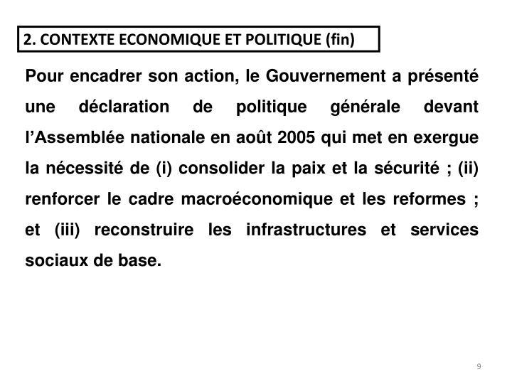 2. CONTEXTE ECONOMIQUE ET POLITIQUE (fin)