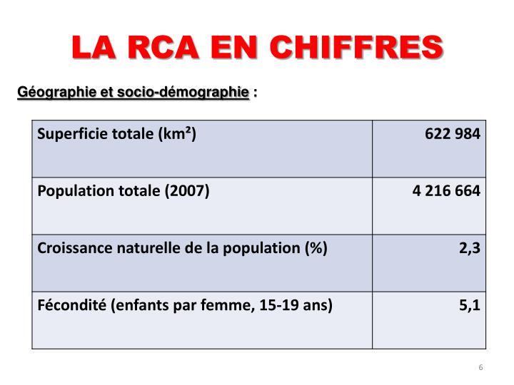 LA RCA EN CHIFFRES