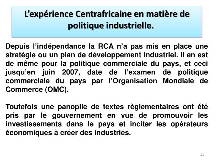 L'expérience Centrafricaine en matière de politique industrielle.