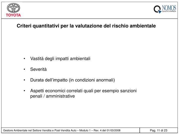 Criteri quantitativi per la valutazione del rischio ambientale