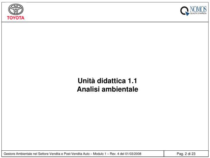 Unità didattica 1.1