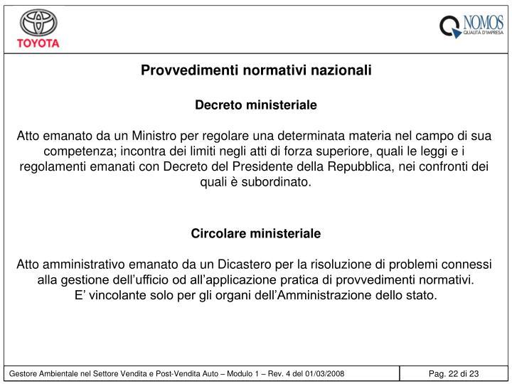 Provvedimenti normativi nazionali