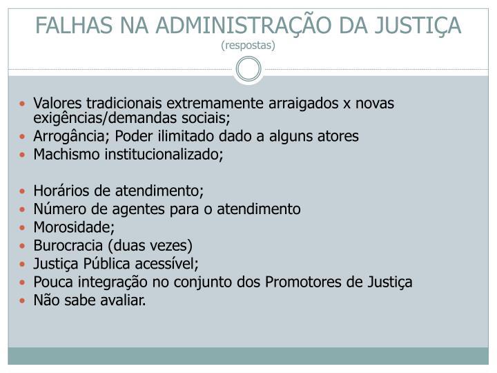 FALHAS NA ADMINISTRAÇÃO DA JUSTIÇA