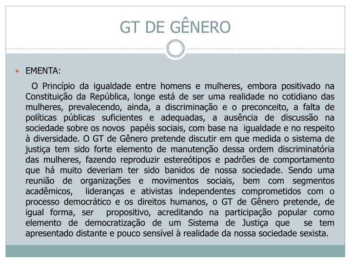 GT DE GÊNERO