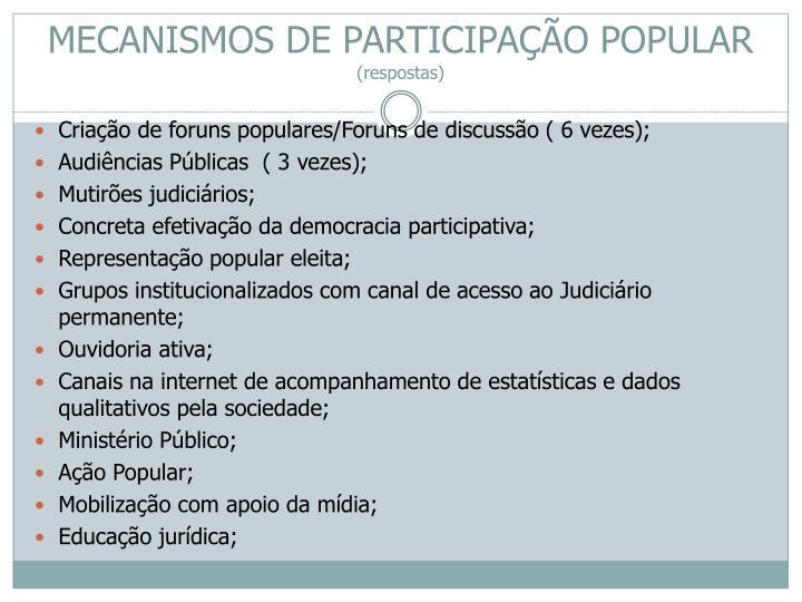 MECANISMOS DE PARTICIPAÇÃO POPULAR