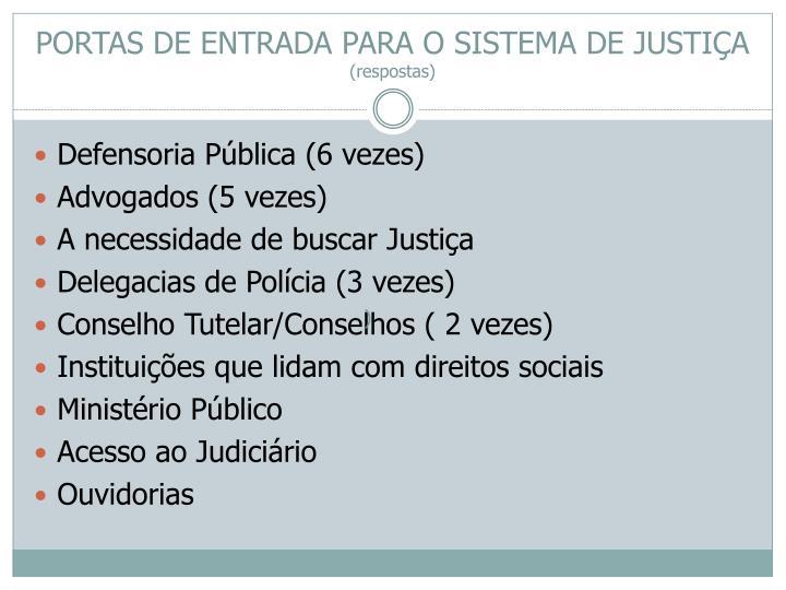PORTAS DE ENTRADA PARA O SISTEMA DE JUSTIÇA