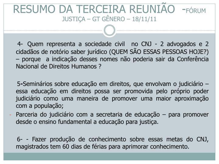 RESUMO DA TERCEIRA REUNIÃO  -