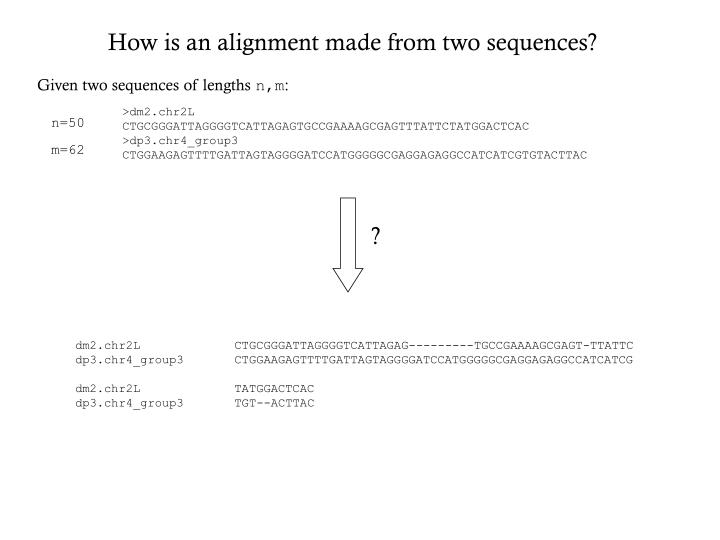 How is an alignment made from two sequences?