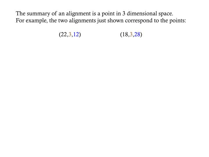 The summary of an alignment is a point in 3 dimensional space.