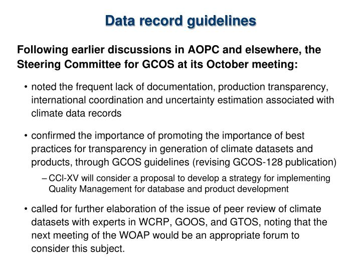 Data record guidelines