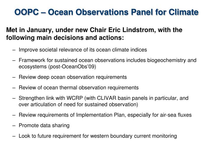 OOPC – Ocean Observations Panel for Climate