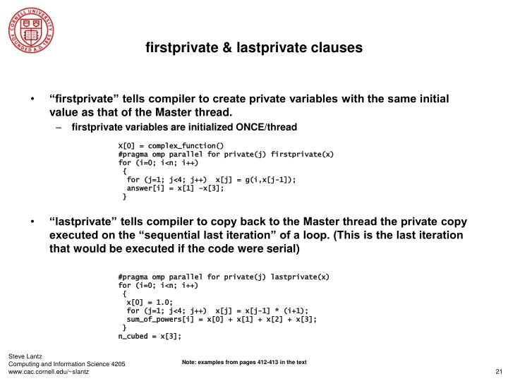 firstprivate & lastprivate clauses