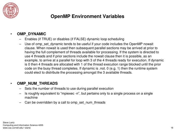 OpenMP Environment Variables