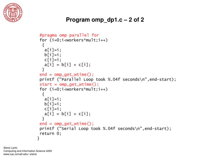 Program omp_dp1.c – 2 of 2