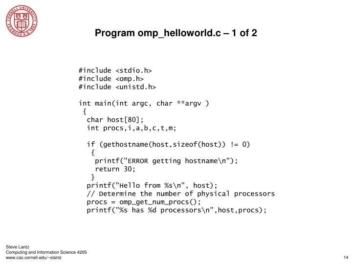 Program omp_helloworld.c – 1 of 2