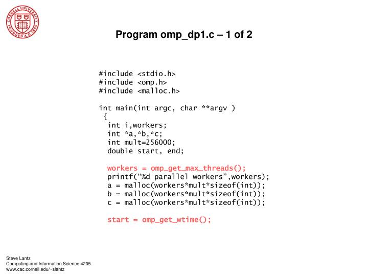 Program omp_dp1.c – 1 of 2