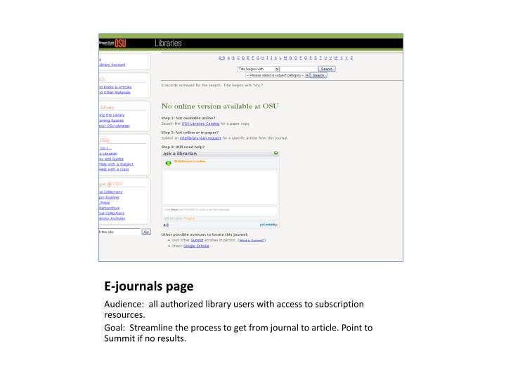 E-journals page