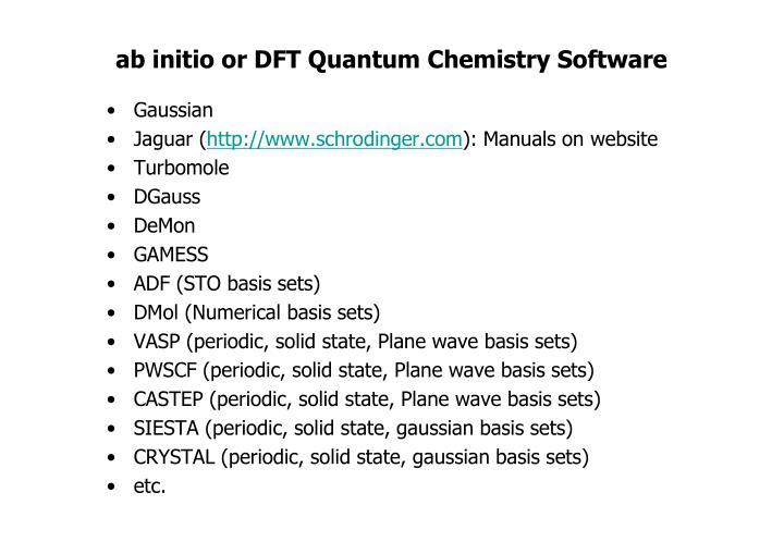ab initio or DFT Quantum Chemistry Software