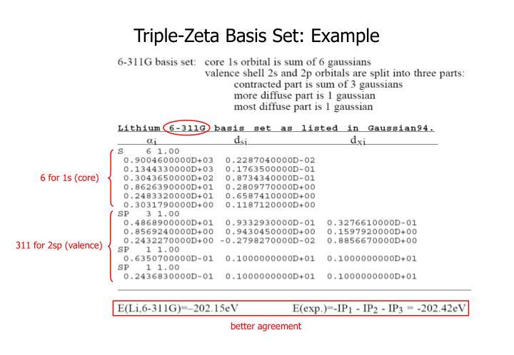 Triple-Zeta Basis Set: Example