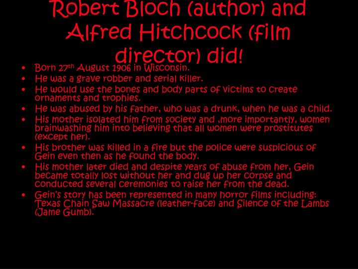 psycho or how a killer is born in a hitchcock film essay Psycho study guide contains a biography of director alfred hitchcock, literature essays, quiz questions, major themes, characters, and a full summary and analysis study guides q & a.