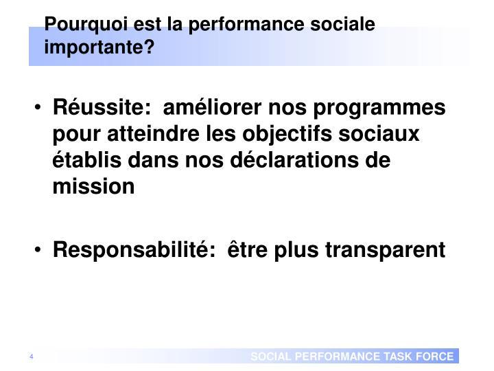 Pourquoi est la performance sociale importante?