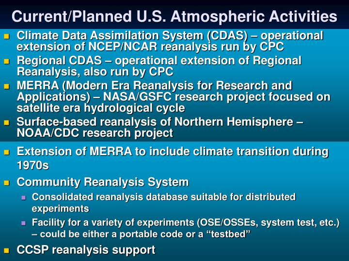 Current/Planned U.S. Atmospheric Activities