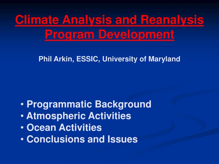 Climate Analysis and Reanalysis Program Development