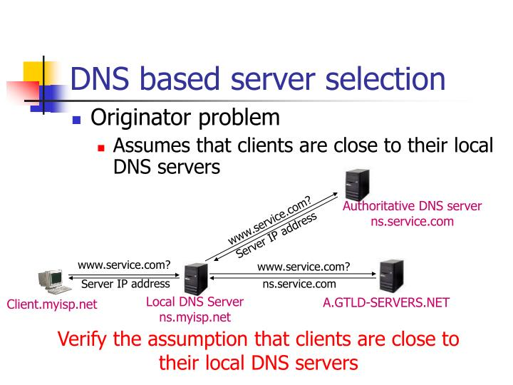 Dns based server selection