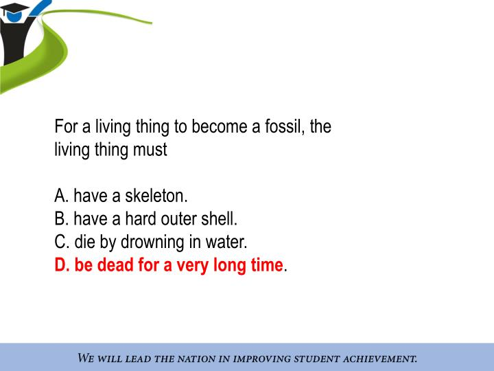 For a living thing to become a fossil, the living thing must