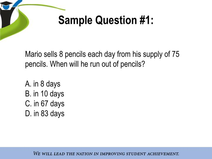 Sample Question #1: