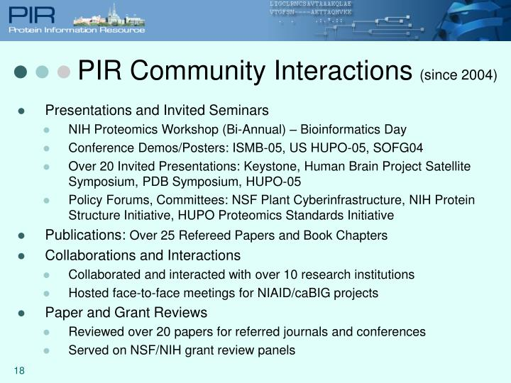 PIR Community Interactions