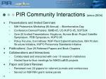 pir community interactions since 2004