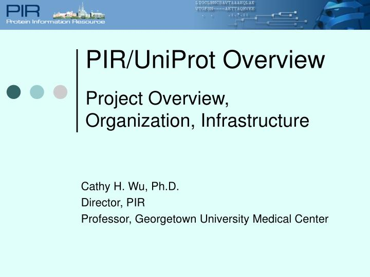 Pir uniprot overview project overview organization infrastructure