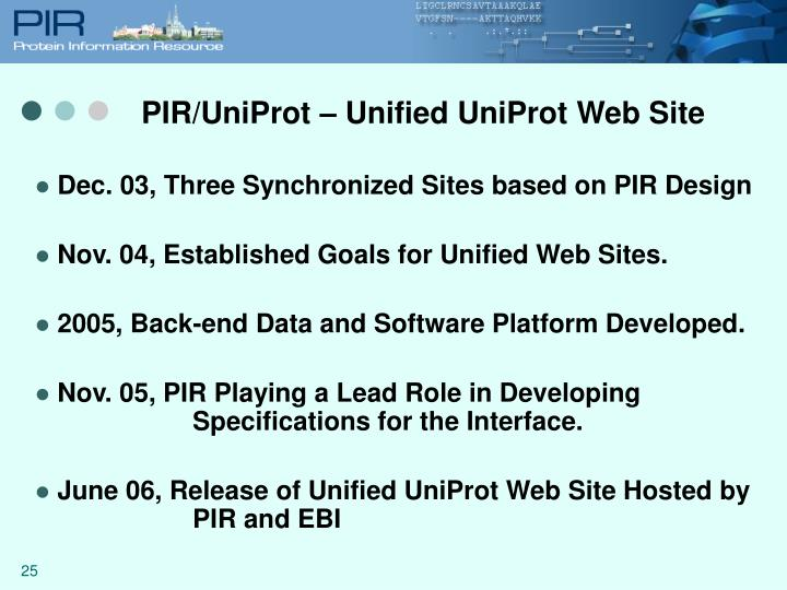 PIR/UniProt – Unified UniProt Web Site