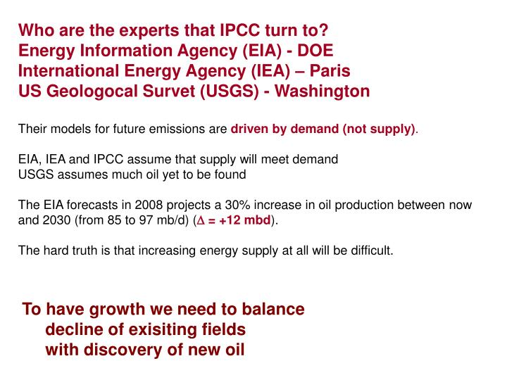 Who are the experts that IPCC turn to?