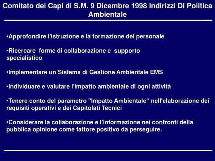 Comitato dei Capi di S.M. 9 Dicembre 1998 Indirizzi Di Politica Ambientale