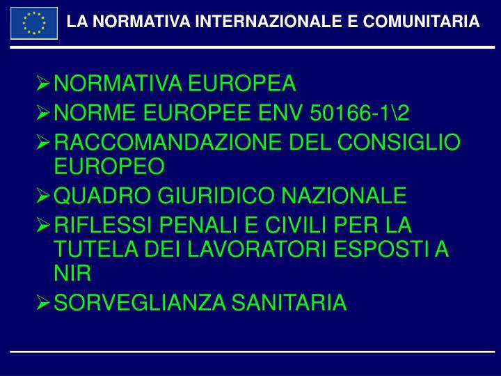 LA NORMATIVA INTERNAZIONALE E COMUNITARIA