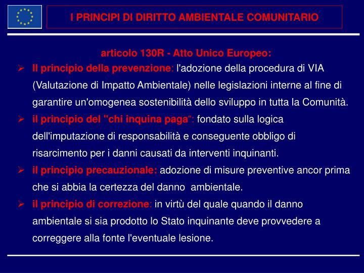 I PRINCIPI DI DIRITTO AMBIENTALE COMUNITARIO