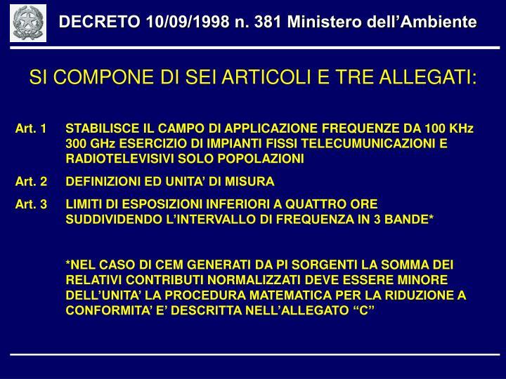 DECRETO 10/09/1998 n. 381 Ministero dell'Ambiente
